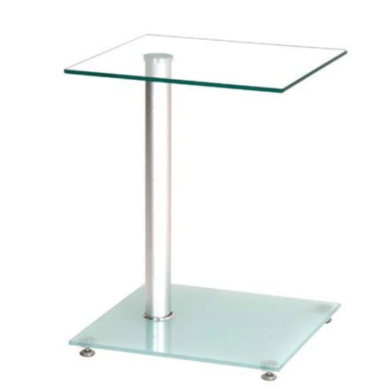 Quadro Bistro Glass Side Table In Clear With Frosted Glass Shelf