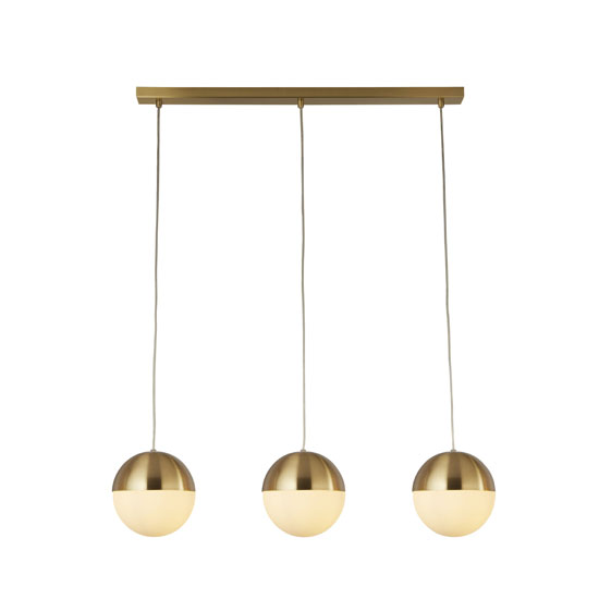 Ender Wall Hung 3 Pendant Light In Satin Brass With Opal Glass