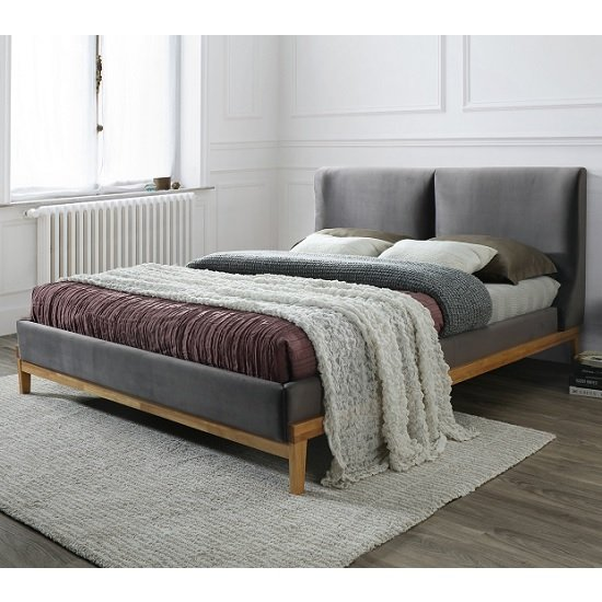 Energy Fabric King Size Bed In Asphalt Grey With Wooden Frame