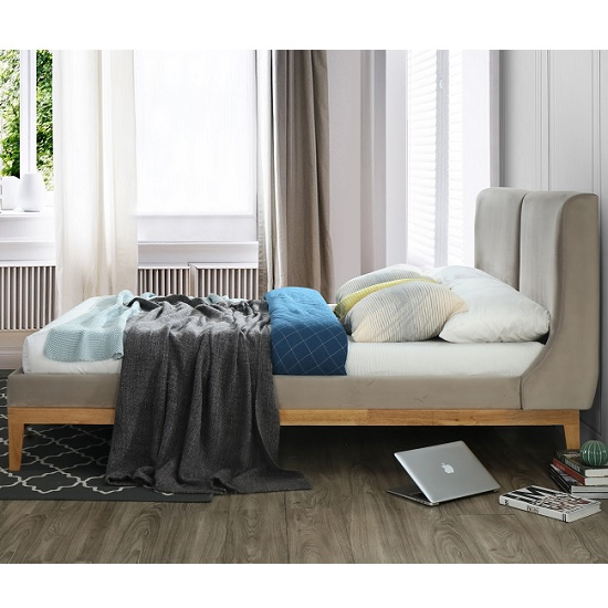 Energy Fabric King Size Bed In Coffee With Wooden Frame_3