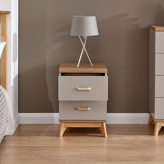 Enid Wooden Bedside Cabinet In Grey With Two Drawers_2