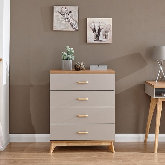 Enid Wooden Chest Of Drawers In Grey With Four Drawers_1