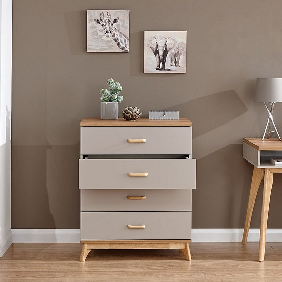 Enid Wooden Chest Of Drawers In Grey With Four Drawers_2