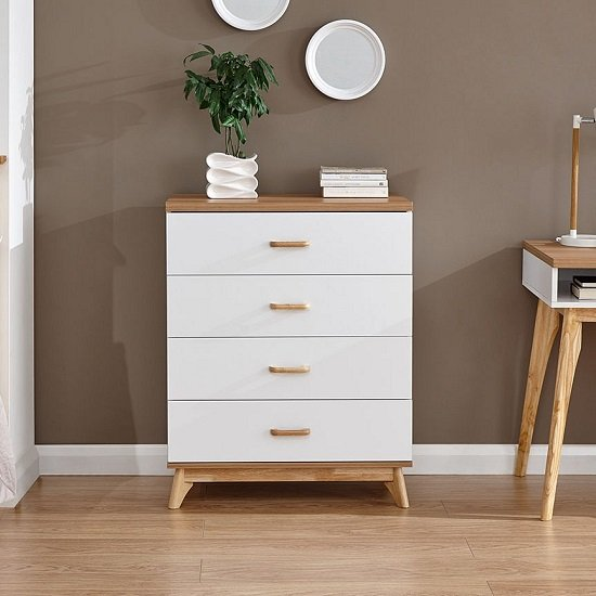 Enid Wooden Chest Of Drawers In White With Four Drawers