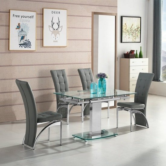 Enke Extending Dining Table In Glass With 4 Ravenna Grey Chairs