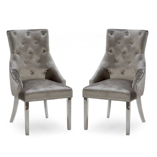 Enmore Crushed Velvet Dining Chair In Champagne In A Pair_1