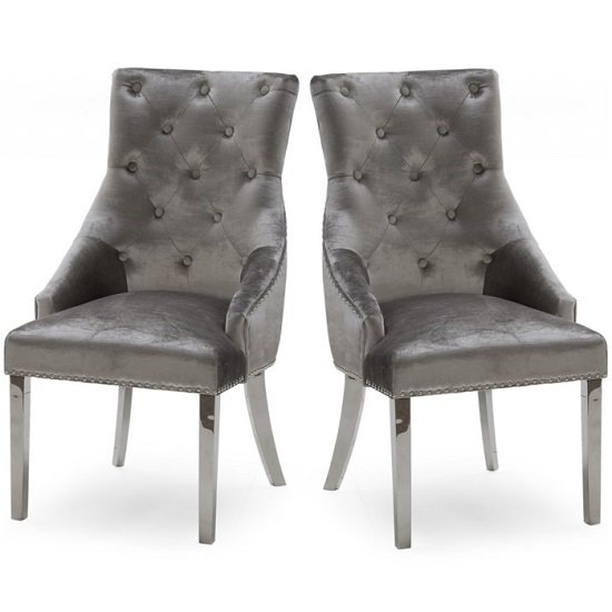 Product photograph showing Enmore Crushed Velvet Dining Chair In Pewter In A Pair