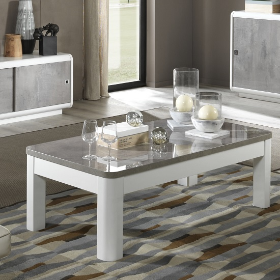 Enox Coffee Table In Marble Effect And White High Gloss