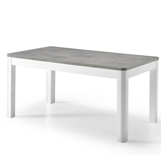 Enox Large Dining Table In Marble Effect And White High Gloss