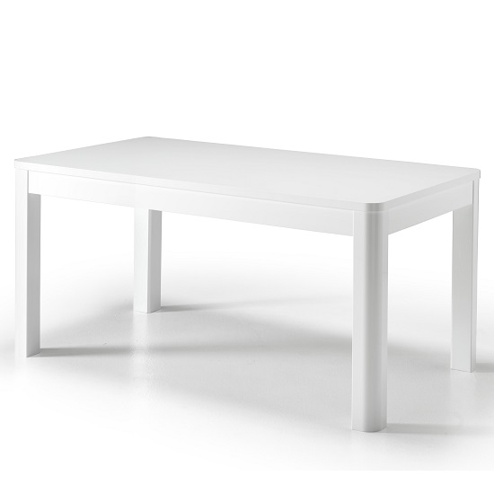 Enox Large Dining Table Rectangular In White High Gloss