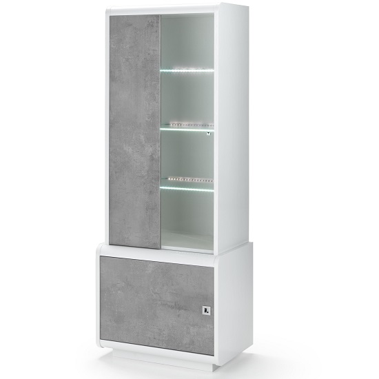 Enox Glass Display Cabinet In Marble Effect White Gloss With LED_2