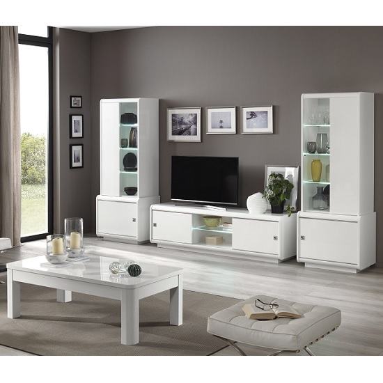 Enox Living Room Set 2 In White High Gloss With LED_2