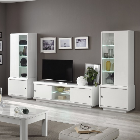 Enox Living Room Set 2 In White High Gloss With LED_1