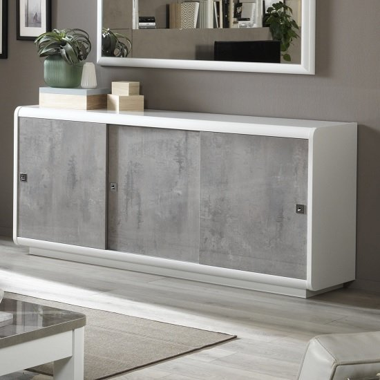 Product photograph showing Enox Sideboard In Marble Effect And White High Gloss