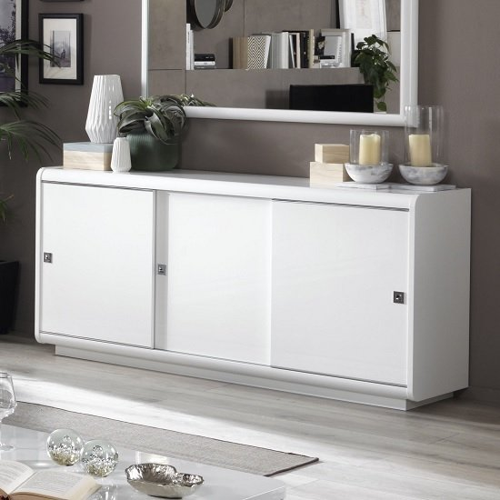 Enox Sideboard In White High Gloss With 3 Sliding Doors