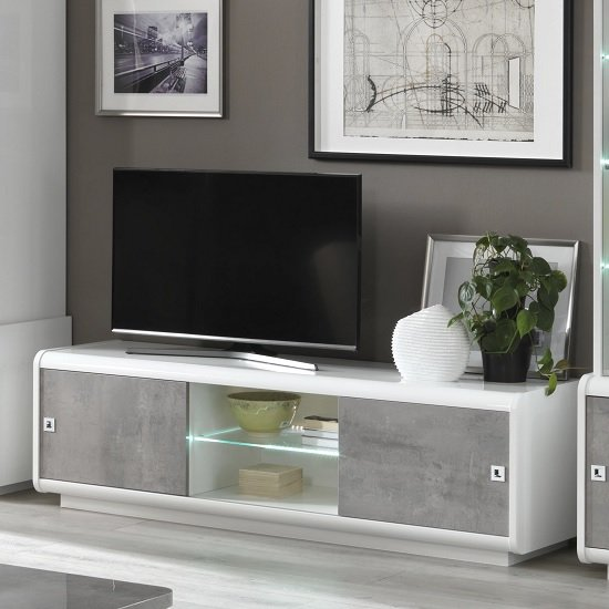 Enox TV Stand In Marble Effect And White High Gloss With LED