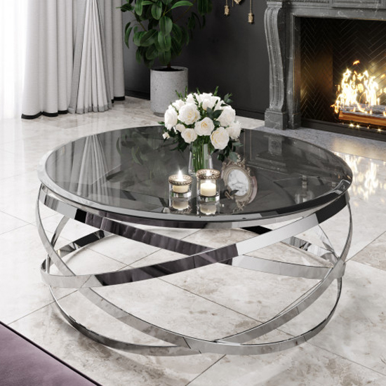 Enrico Black Glass Coffee Table With Silver Stainless Steel Legs