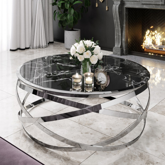 Enrico Black Marble Coffee Table With Silver Stainless Steel Leg