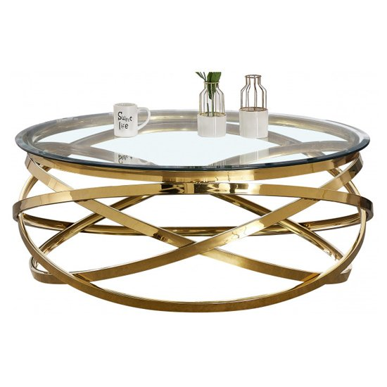 Enrico Clear Glass Coffee Table With Gold Stainless Steel Legs_2