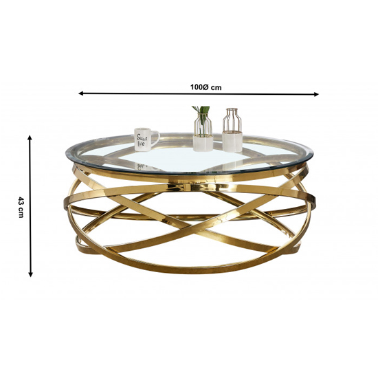Enrico Clear Glass Coffee Table With Gold Stainless Steel Legs_3