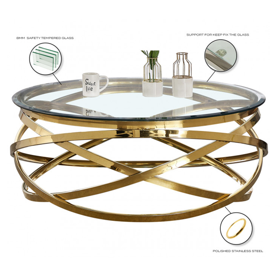 Enrico Clear Glass Coffee Table With Gold Stainless Steel Legs_4