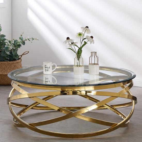 Enrico Clear Glass Coffee Table With Gold Stainless Steel Legs