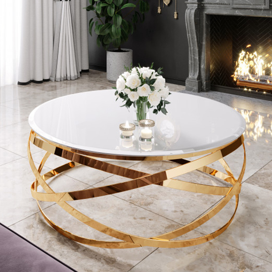 Product photograph showing Enrico White Glass Coffee Table With Gold Stainless Steel Legs