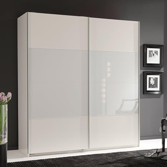 View Enter sliding door wide wooden wardrobe in white