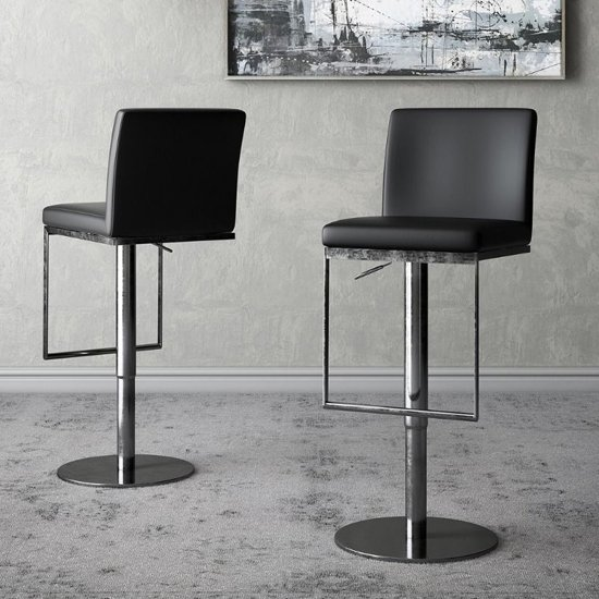 Enzo Black Faux Leather Gas-lift Bar Stools In Pair