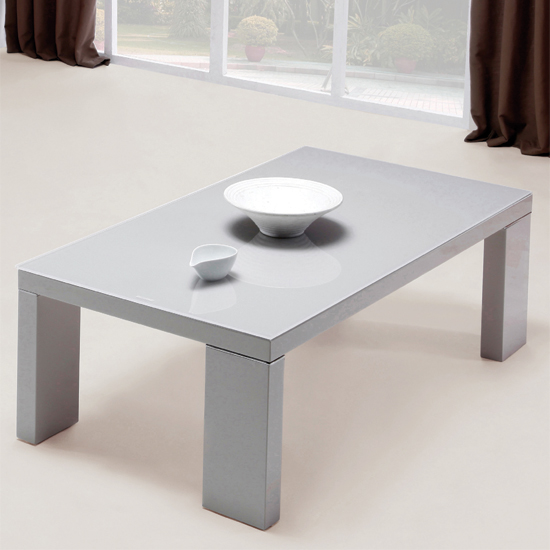 Giovanni Gl Top Coffee Table In Grey With High Gloss Legs