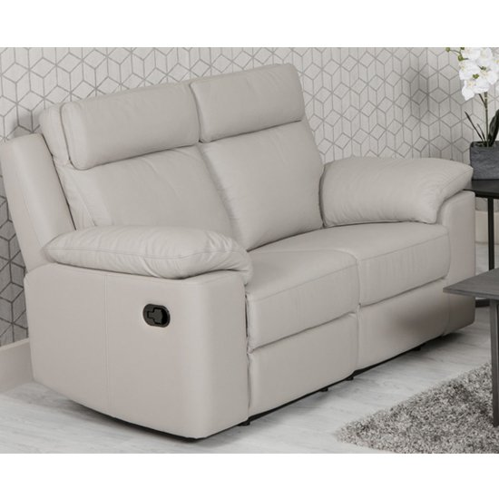 View Enzo faux leather 2 seater recliner sofa in putty
