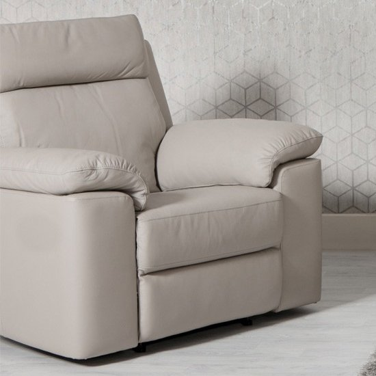 Enzo Faux Leather Armchair In Putty