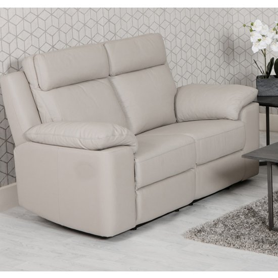 Enzo Faux Leather Fixed 2 Seater Sofa In Putty_1