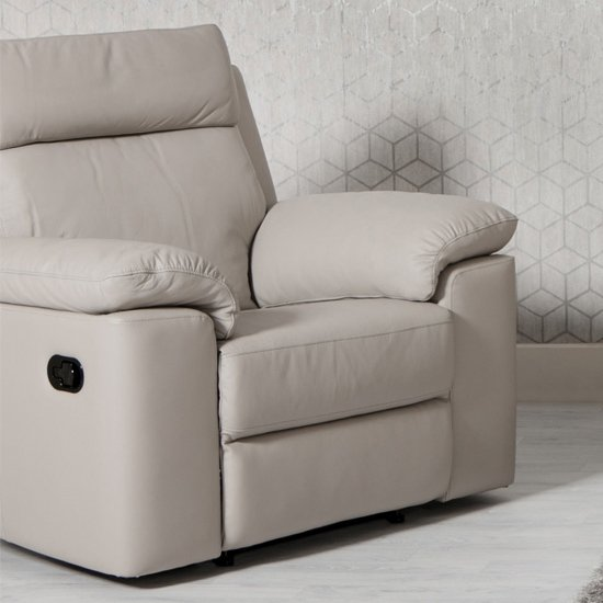 Enzo Faux Leather Recliner Armchair In Putty