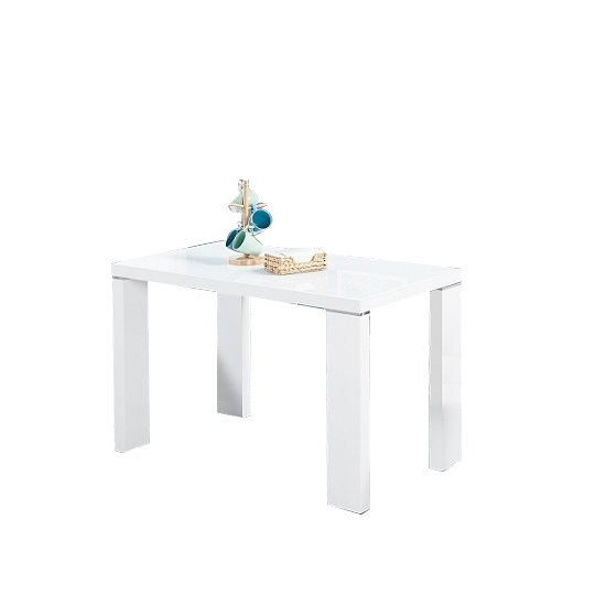 Enzo Glass Top Dining Table Small In White With High Gloss Legs_1