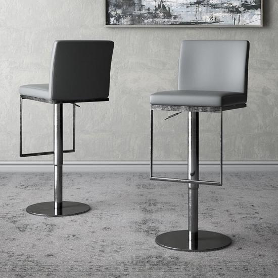 Enzo Grey Faux Leather Gas-lift Bar Stools In Pair