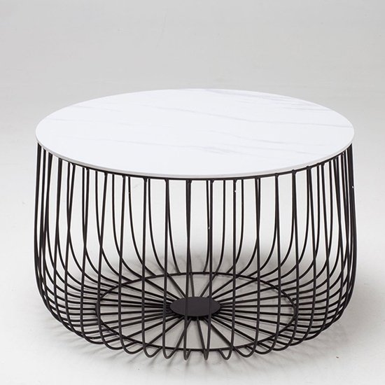 Enzo Large Black Frame Cage Coffee Table With Marble Top