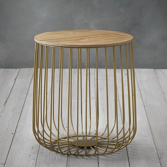 Enzo Small Gold Frame Cage Coffee Table With Oak Finish Top_2