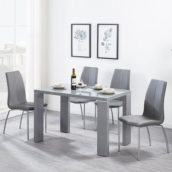 Enzo Glass Dining Table Small In Grey Gloss With 4 Opal Chairs