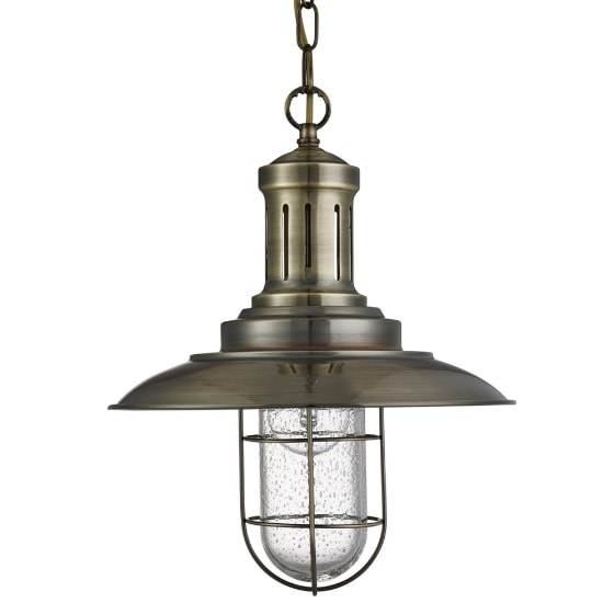 Eos Fisherman Ceiling Light In Antique Brass With Caged Shade