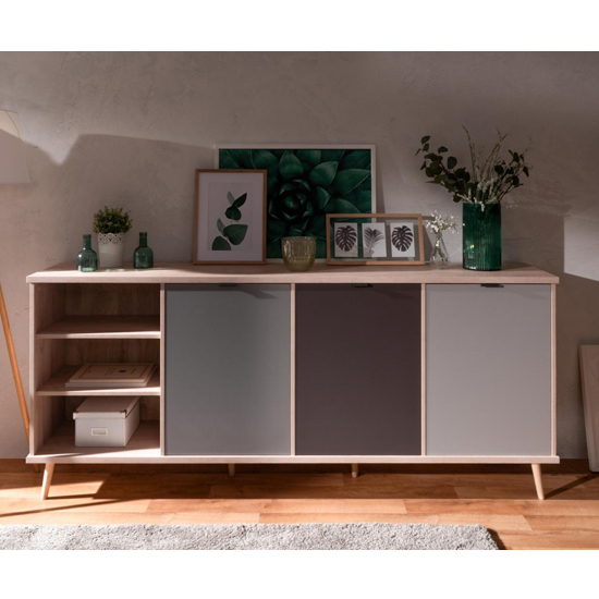 Epik Large Wooden Sideboard In Oak And Multicolour