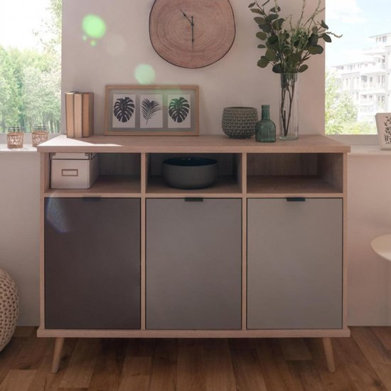 Epik Small Wooden Sideboard In Oak And Multicolour