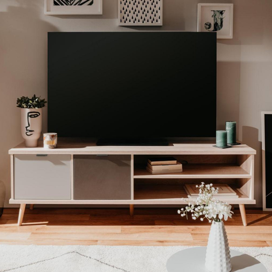 Epik Wooden TV Stand In Oak And Multicolour
