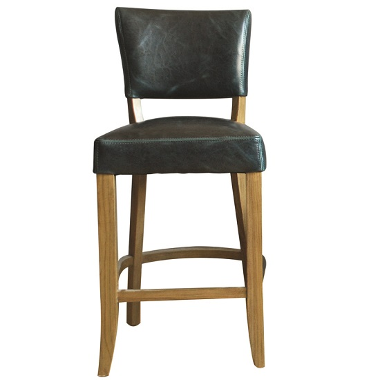 Epping PU Leather Bar Chair In Ink Blue With Wooden Frame_1
