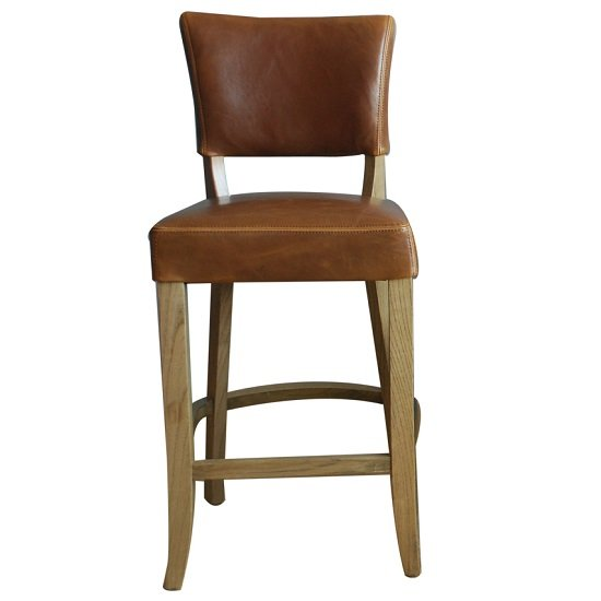 Epping PU Leather Bar Chair In Tan Brown With Wooden Frame_1