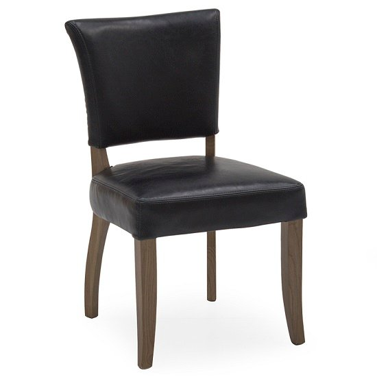 Epping PU Leather Dining Chair In Ink Blue With Wooden Frame_1