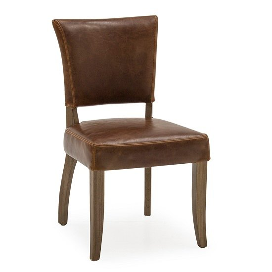 Epping PU Leather Dining Chair In Tan Brown With Wooden Frame