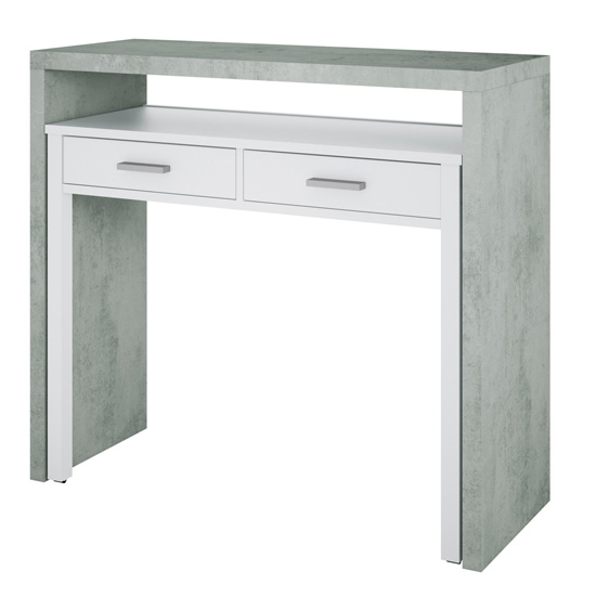 Epping Pull-Out Wooden Laptop Desk In White And Concrete_2