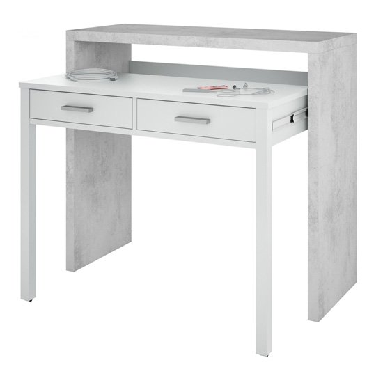 Epping Pull-Out Wooden Laptop Desk In White And Concrete_1
