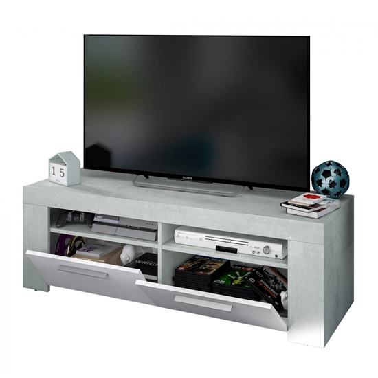 Epping Wooden TV Stand In White And Concrete With 2 Doors_2